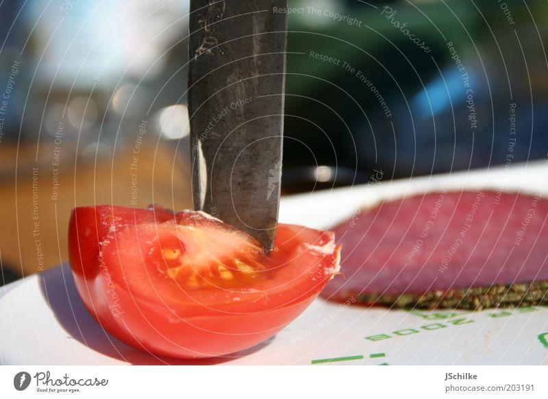 knife meets tomato Erholung Gesundheit Ernährung Lebensmittel Ausflug Lifestyle einfach Gemüse Appetit & Hunger lecker Camping Sommerurlaub Teller Bioprodukte