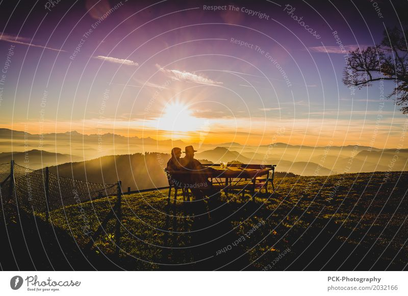 Abendsonne am Berg Sonnenaufgang Sonnenuntergang Sonnenlicht Frühling Sommer Herbst Nebel Garten Hügel Berge u. Gebirge genießen träumen Unendlichkeit Wärme
