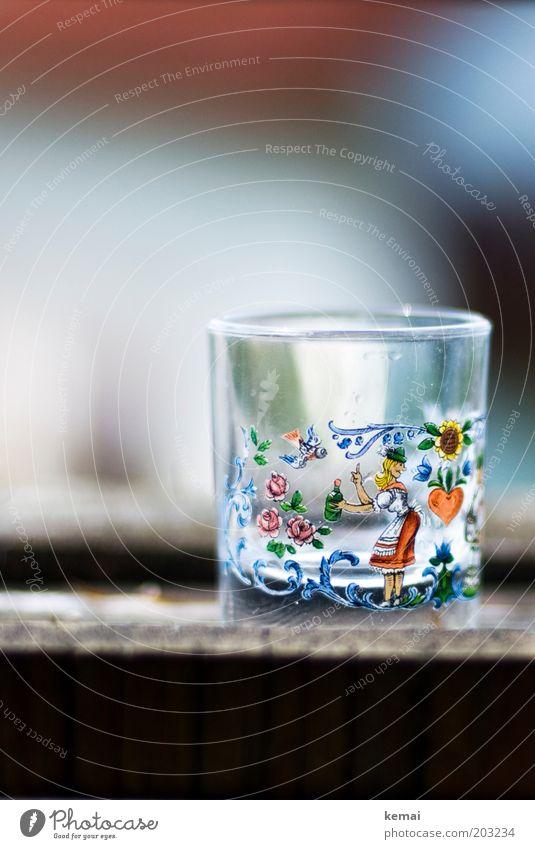 Schnaps-Glas Frau Herz lustig leer Fröhlichkeit Getränk trinken Dekoration & Verzierung Bild lecker genießen Alkohol gemalt Alkoholsucht Kunsthandwerk