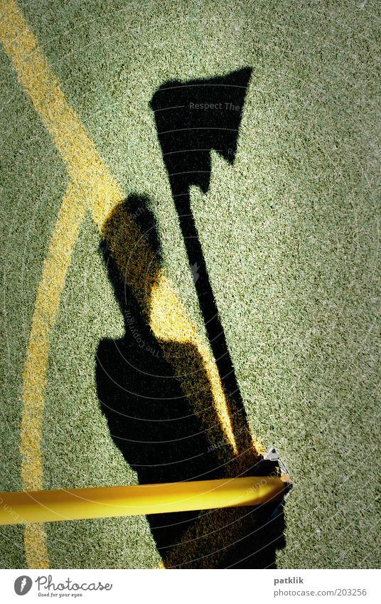 Die Fahnenträgerin Sport Schiedsrichter Fußball Fußballplatz Mensch 1 tragen Schatten Linie gelb grün schwarz Eckfahne Linienrichterin Rasen stolzieren Farbfoto