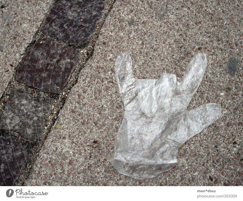 Einweg-Rocker Hand Freude Straße Musik Müll Zeichen Rockmusik Kunststoff Symbole & Metaphern Handschuhe gestikulieren rebellisch Textfreiraum links Schutz
