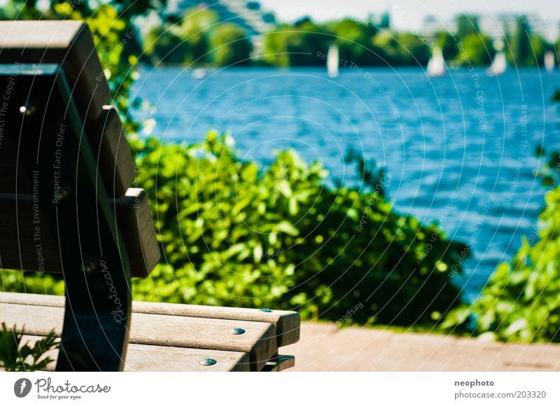Alstervergügen Wasser grün blau Sommer Frühling Wege & Pfade See Wasserfahrzeug braun Hamburg Ausflug Tourismus Bank Aussicht Segeln Sonnenbad