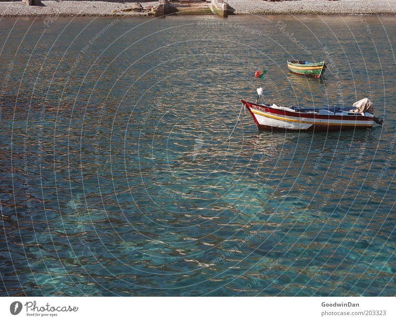 Analoge Pastellboote Natur Wasser schön Meer grün Bewegung Wasserfahrzeug einfach Schönes Wetter ankern
