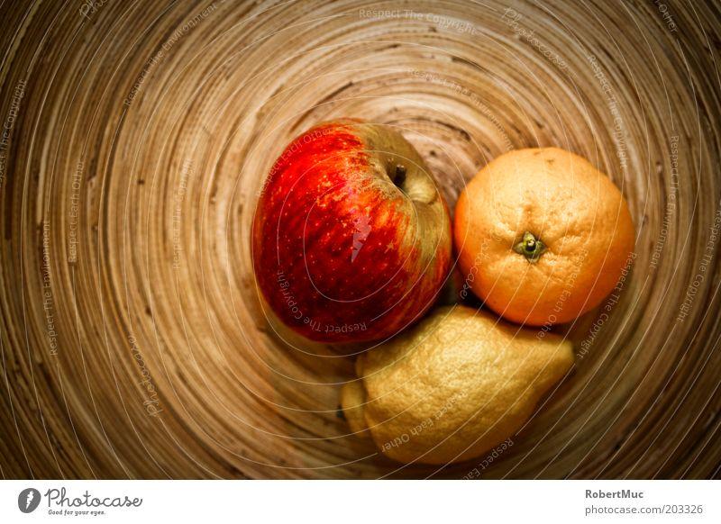 Just fruits rot gelb Stil Holz braun Orange Lebensmittel Frucht ästhetisch Küche Dekoration & Verzierung Häusliches Leben Apfel Teller Vitamin Zitrone