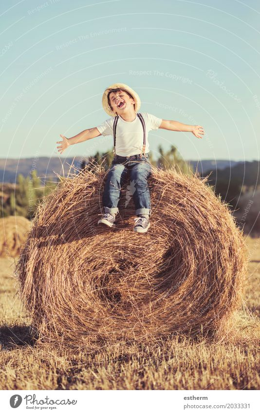 Kind, das auf dem Weizengebiet spielt. Mensch Natur Ferien & Urlaub & Reisen Sommer Landschaft Freude Lifestyle Gefühle Bewegung Junge träumen Feld Körper Kraft