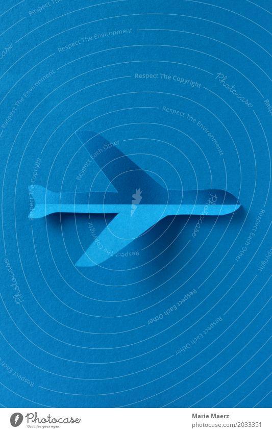 Flugzeug Schatten Ferien & Urlaub & Reisen blau Ferne Glück Tourismus fliegen Horizont ästhetisch Luftverkehr einzigartig Grafik u. Illustration trendy Reichtum