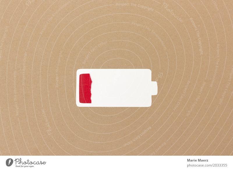 Batterie leer Erholung braun modern Technik & Technologie Energie einfach Symbole & Metaphern Wohlgefühl Handy Meditation Stress Müdigkeit Erschöpfung kämpfen