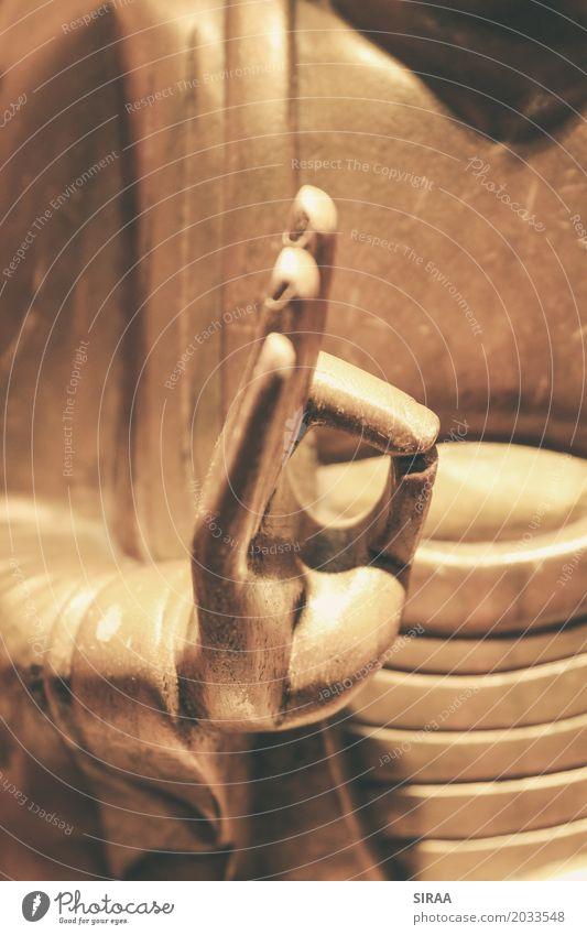 Mudrakhya - Hand des goldenen Buddha Meditation Finger Skulptur Zeichen Erholung Kraft achtsam Zufriedenheit Gelassenheit Wellness Statue Yoga Zen Spiritualität