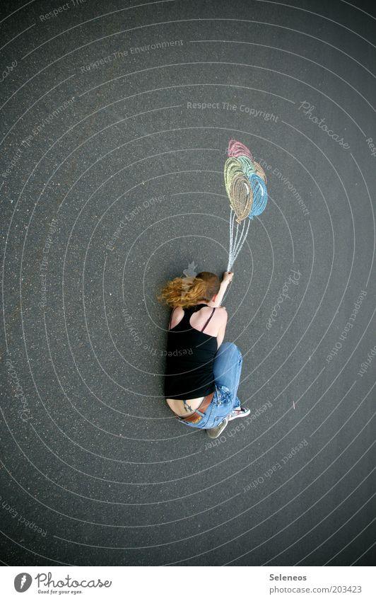 Traumweltreisende Körper Freizeit & Hobby Spielen Ausflug Abenteuer Ferne Freiheit Sommer Mensch 1 Himmel Jeanshose Luftballon fliegen zeichnen träumen