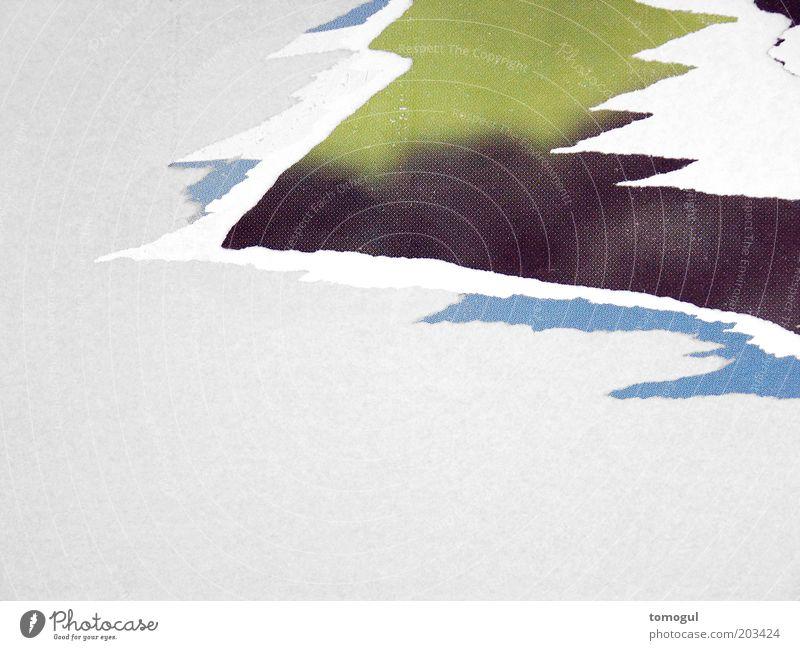Cause = Time weiß grün blau schwarz grau Papier ästhetisch Spitze Verfall abstrakt Zacken abblättern