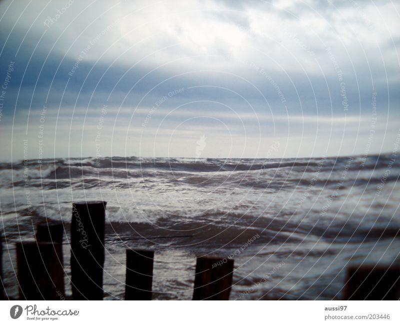 Alone again (naturally) Wasser Himmel Meer Wellen Küste Horizont Sturm Brandung Buhne Wolkenhimmel