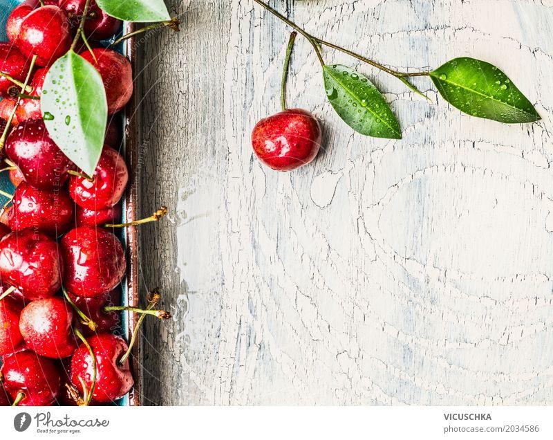 Nahaufnahme von süßen Kirschen Lebensmittel Frucht Dessert Ernährung Bioprodukte Vegetarische Ernährung Diät Stil Design Gesundheit Gesunde Ernährung Sommer