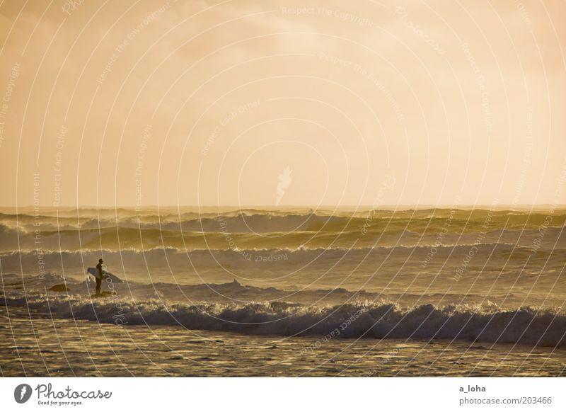 the search Mensch Himmel Ferien & Urlaub & Reisen Meer Sport Freiheit Wellen warten nass Horizont stehen beobachten Mut sportlich Surfen Fernweh