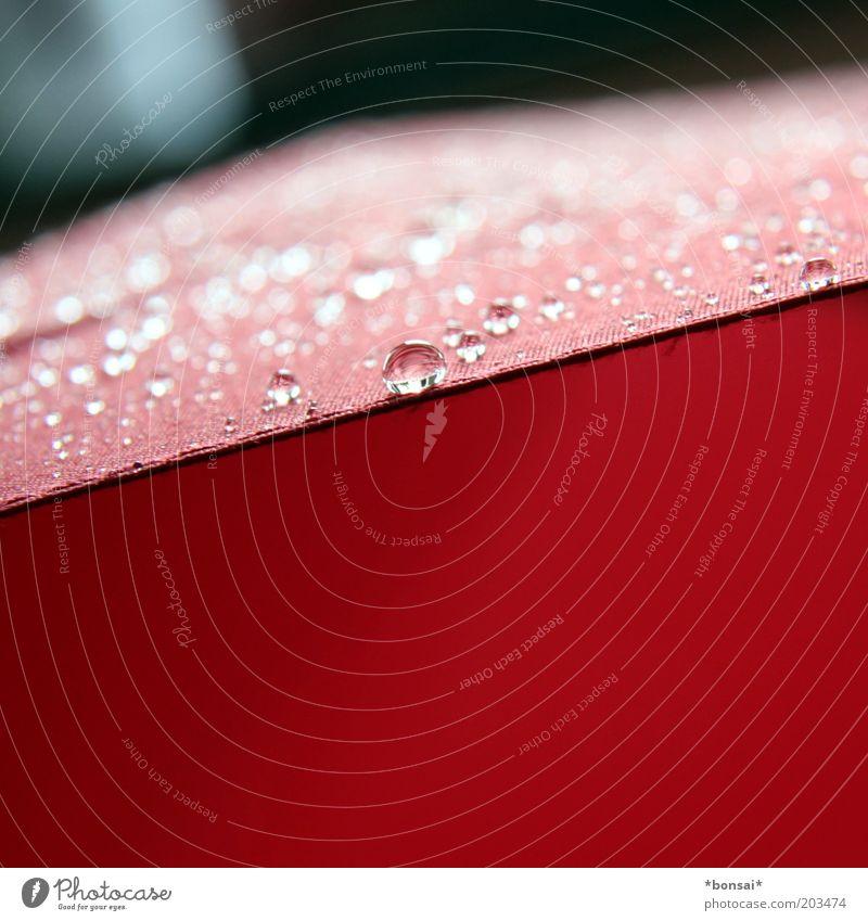 umbrella Wasser Wassertropfen Frühling Wetter schlechtes Wetter Regen Regenschirm Linie Tropfen glänzend dünn frisch nass rot Sicherheit Schutz Natur