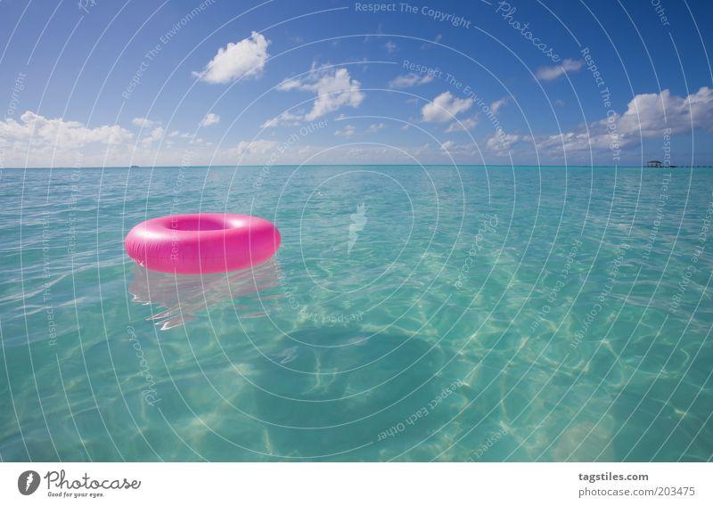 SUMMERTIME Wasser Himmel Meer blau Ferien & Urlaub & Reisen Wolken Erholung rosa Horizont Asien Schwimmen & Baden Idylle türkis Reifen Malediven