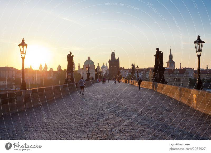 PRAGER KARLSBRÜCKE Prag Karlsbrücke Sonnenaufgang Dämmerung blau Ferien & Urlaub & Reisen Reisefotografie Brücke Tschechien Nacht Stadt Europa Städtereise