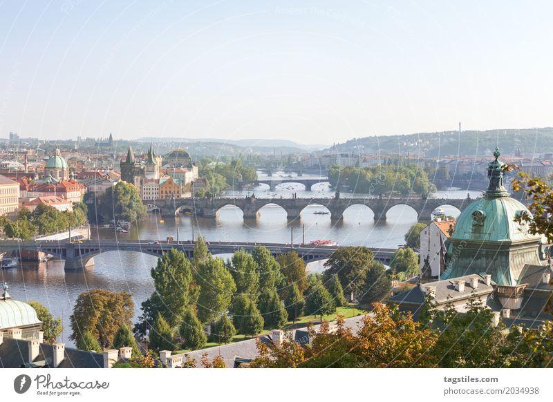 MOLDAU Ferien & Urlaub & Reisen Stadt Wasser Ferne Reisefotografie Horizont Kirche Europa Brücke Fluss Postkarte Städtereise Kirchturm Prag Tschechien