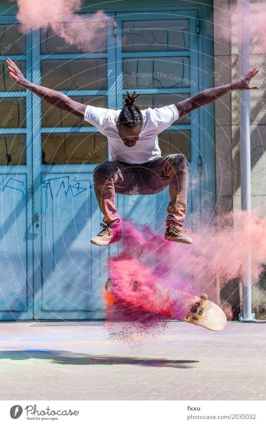 Skaten mit Holipulver Mensch Jugendliche Mann Junger Mann Freude 18-30 Jahre Erwachsene Lifestyle Gefühle Sport Glück Kunst springen Freizeit & Hobby maskulin