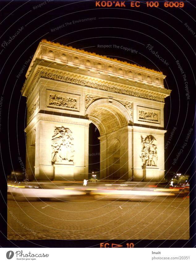 Triumphbogen Paris Nacht Verkehr Frankreich Architektur