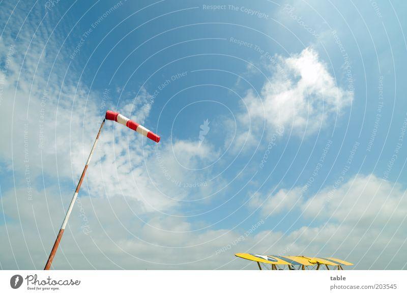 Freiheit Ferne Umwelt Natur Himmel Schönes Wetter Luftverkehr Flugzeug Propellerflugzeug Doppeldecker Flugplatz stehen warten historisch blau gelb rot weiß