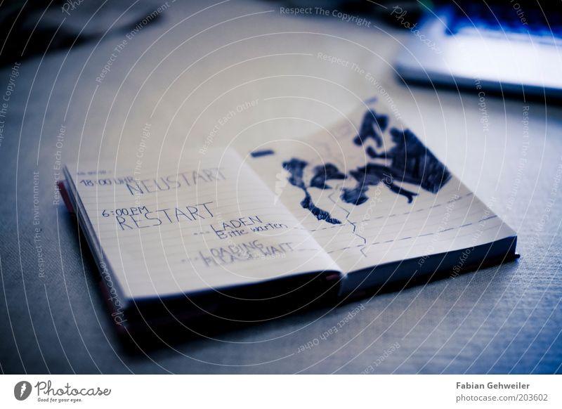 Neustart - Restart Notizbuch Schriftzeichen blau Vorfreude Optimismus Willensstärke Mut Tatkraft Heimweh Fernweh anstrengen Erwartung Freiheit Neuanfang