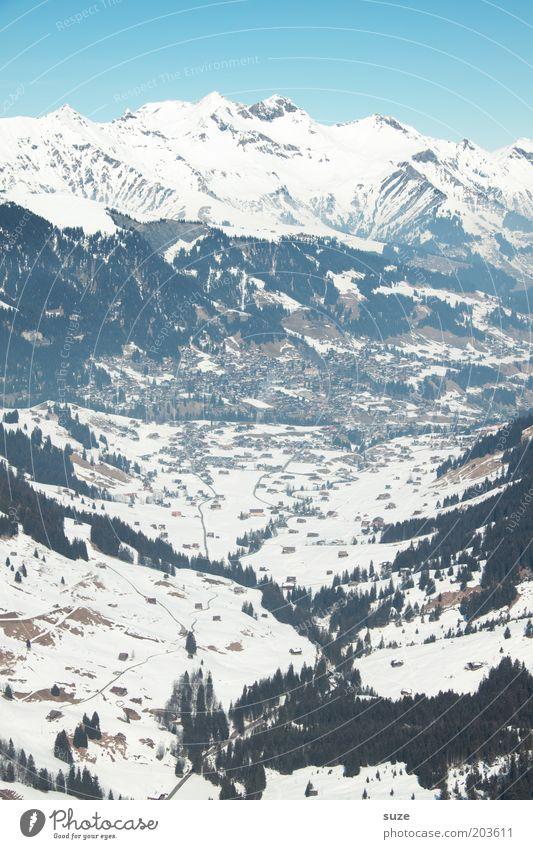 Talblick Ferien & Urlaub & Reisen Winterurlaub Berge u. Gebirge Umwelt Natur Landschaft Urelemente Luft Himmel Wolkenloser Himmel Klima Schönes Wetter Schnee