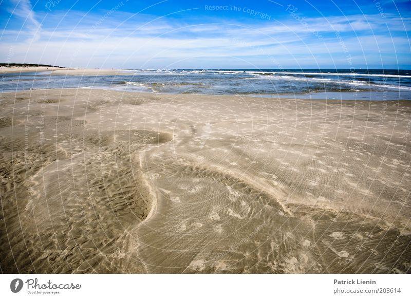 geniessen Umwelt Natur Sand Wasser Himmel Wolken Sommer Klima Schönes Wetter Wind Wellen Küste Strand Nordsee Meer Insel Spiekeroog Muster Spuren Horizont Ferne