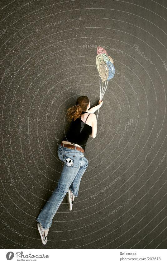 Traumweltreisende II Mensch Himmel Jugendliche Sommer Freude Ferne Straße Spielen Freiheit Wege & Pfade Glück Luft träumen Freizeit & Hobby fliegen liegen