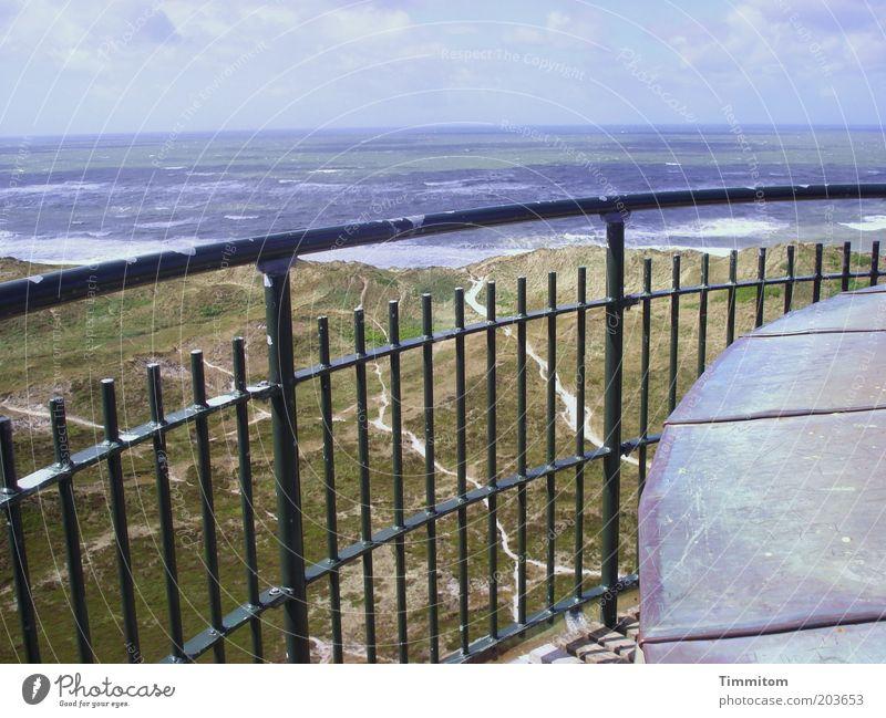 Blick vom Leuchtturm Ferien & Urlaub & Reisen Ferne Freiheit Sommer Meer Umwelt Natur Landschaft Urelemente Küste Nordsee Horizont Geländer Aussicht Himmel blau
