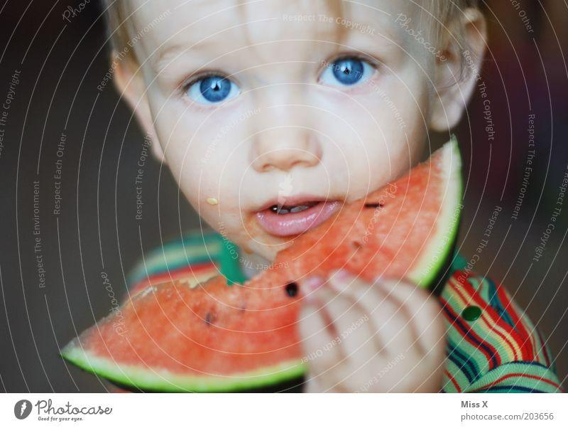 800 x Kind blau Auge Ernährung Lebensmittel Junge Essen Gesundheit Kindheit Frucht frisch süß Porträt Kleinkind Appetit & Hunger saftig