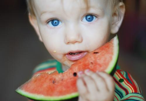800 x Lebensmittel Frucht Ernährung Essen Kind Kleinkind Junge Kindheit 1-3 Jahre frisch Gesundheit saftig süß Appetit & Hunger Melonen Wassermelone Auge