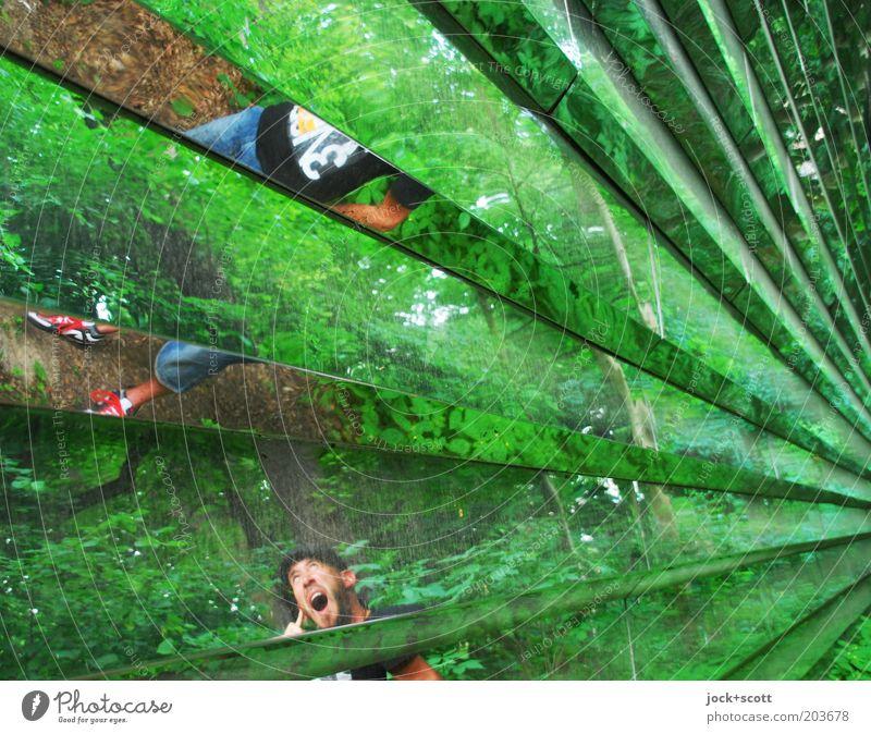 Tinnitus Mann Erwachsene 1 Mensch Wald Treptow Metall Linie hören schreien außergewöhnlich fantastisch modern natürlich grün Gefühle Angst Hemmungslosigkeit