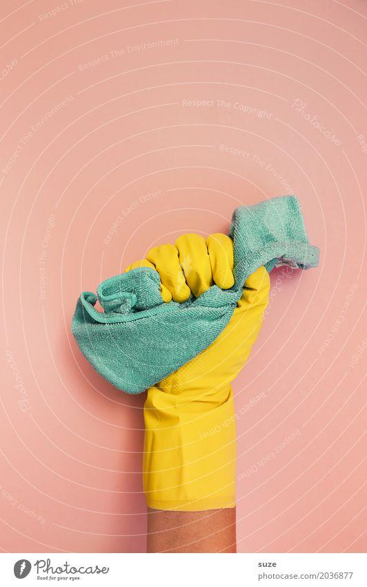 Wischiwaschi Hand gelb Lifestyle lustig Stil Design rosa Arbeit & Erwerbstätigkeit Ordnung verrückt Beginn Finger Sauberkeit Reinigen festhalten türkis