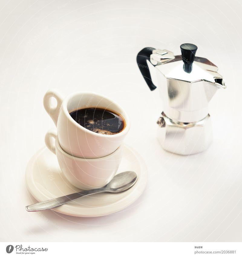 Lebenselixier | Espresso doppio Lebensmittel Getränk Kaffee Tasse Löffel Lifestyle Stil Design harmonisch Gastronomie genießen hell lustig schwarz weiß