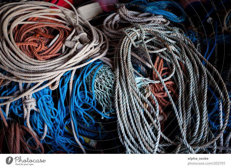 Arbeitsmittel Arbeitsplatz Seil Schifffahrt Fischerboot Kunststoff Knoten Arbeit & Erwerbstätigkeit Jagd alt fest blau braun Ordnung Sicherheit Tau Farbfoto
