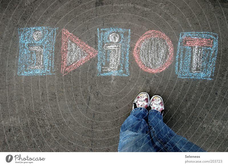Selber! Farbe Spielen Fuß Beine Verkehr Jeanshose Kommunizieren Schriftzeichen Freizeit & Hobby Information Zeichen Hinweisschild Kreide Dummkopf Verkehrsschild