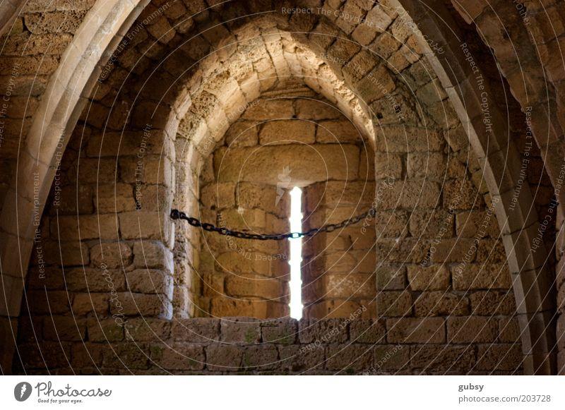 Fenster Backstein Ruine Kette Justizvollzugsanstalt Stein Bogen abgelegen Israel Naher und Mittlerer Osten Römerzeit