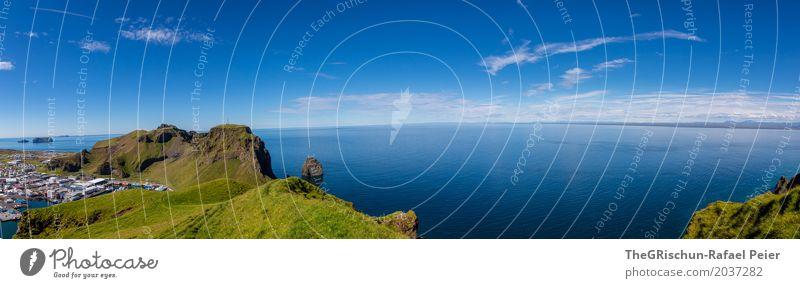 Heimaey VIII Umwelt Natur Landschaft Schönes Wetter blau grün Panorama (Bildformat) Aussicht Hügel Island Meer Hafen Himmel Ferne Wolken Weide Wiese Farbfoto
