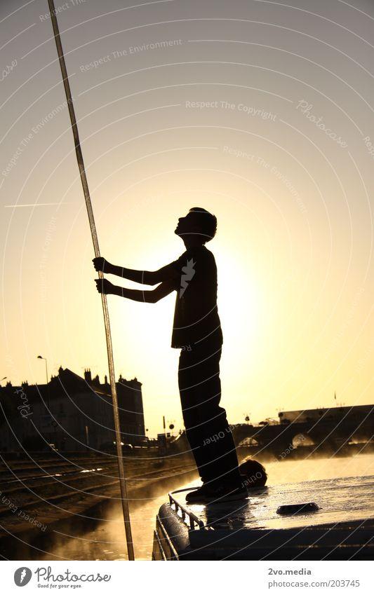 Sonnenaufgang mit Seilzug Mensch maskulin 1 18-30 Jahre Jugendliche Erwachsene Umwelt Natur Luft Wasser Wolkenloser Himmel Sonnenuntergang Küste Schifffahrt