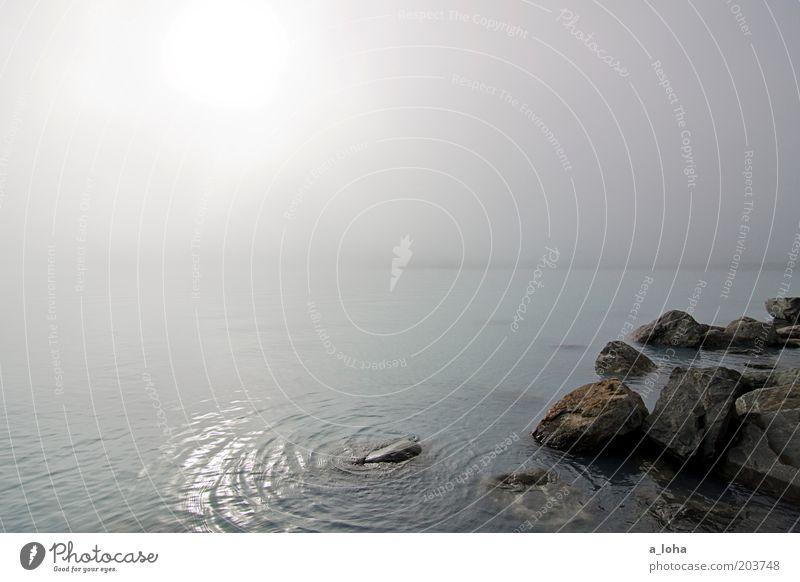 the blue mist Natur Wasser schön Himmel Sonne Ferien & Urlaub & Reisen Einsamkeit kalt grau träumen Stein Stimmung glänzend Nebel Felsen natürlich