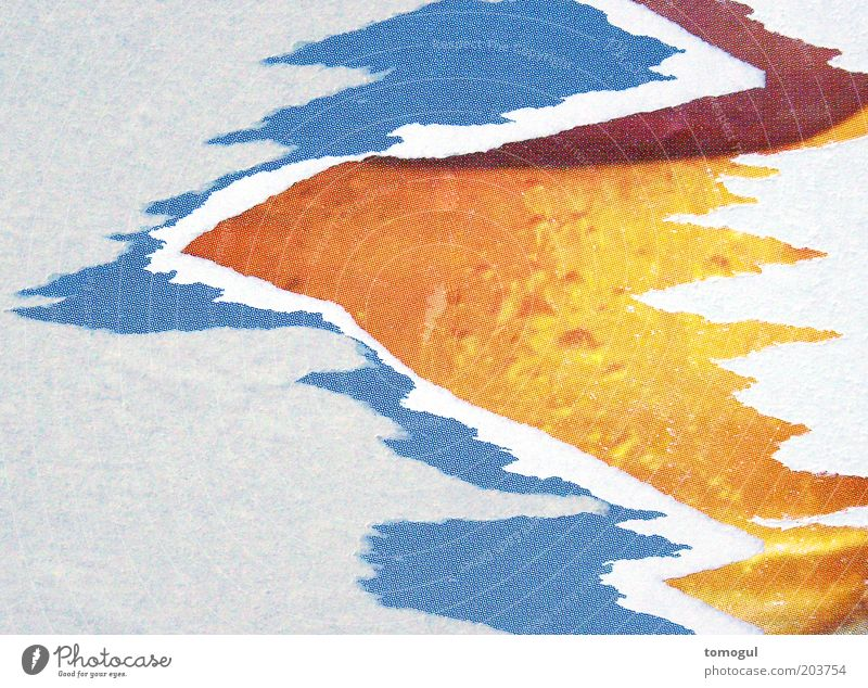 Time = Cause Printmedien Papier ästhetisch verrückt Spitze trashig blau braun mehrfarbig gelb grau rot weiß bizarr Farbfoto abstrakt Muster Strukturen & Formen