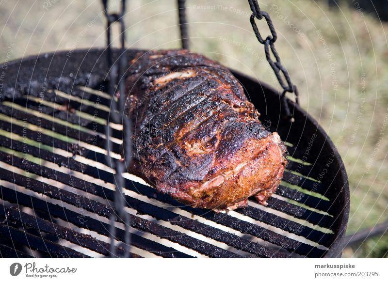 grillfleisch Sommer Ferien & Urlaub & Reisen Ernährung Lebensmittel Freizeit & Hobby Leidenschaft lecker Grillen Duft Camping Fleisch Expedition Grillrost
