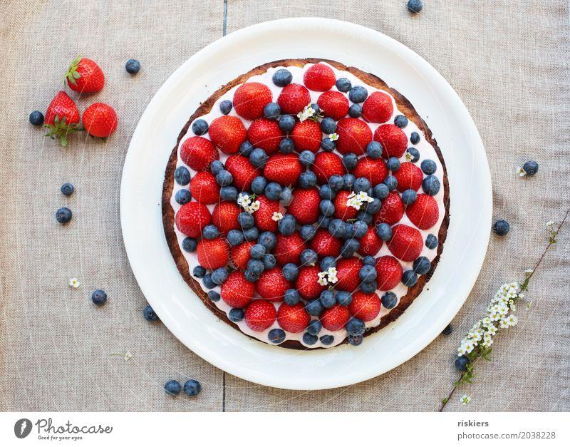 Erdbeerkuchen Lebensmittel Frucht Kuchen Erdbeeren Blaubeeren Ernährung Kaffeetrinken frisch Gesundheit lecker Lebensfreude Dinkel Frühling Farbfoto