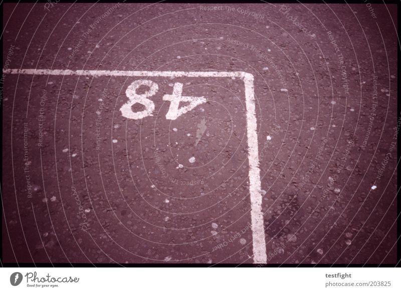 48 Straße Parkplatz Parkplatznummer Markierungslinie Farbfoto Außenaufnahme Lomografie Parkbucht Ziffern & Zahlen Ordnung