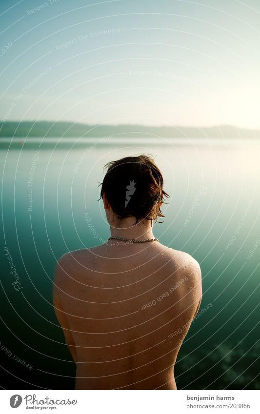ruhe vor dem sturm Mensch Jugendliche Erwachsene Erholung Ferne Freiheit See Denken träumen Stimmung Körper Kraft Rücken maskulin nass frei