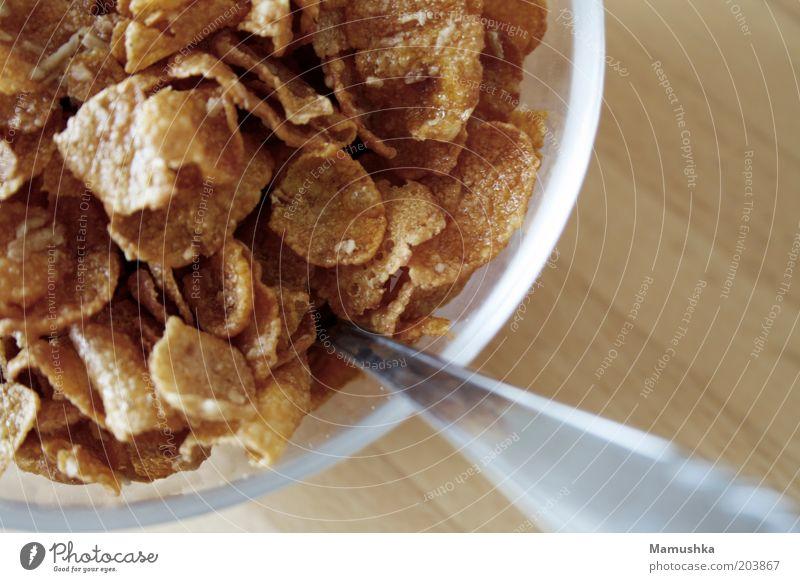 Frühstück Holz Gesundheit braun Glas süß gut einfach Wellness nah Frühstück lecker Schalen & Schüsseln Löffel Cornflakes