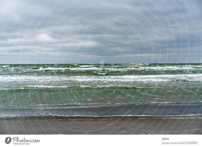 Green Ocean Umwelt Natur Landschaft Urelemente Wasser Himmel Wolken Horizont Klima Wetter schlechtes Wetter Unwetter Wind Sturm Wellen Küste Strand Nordsee