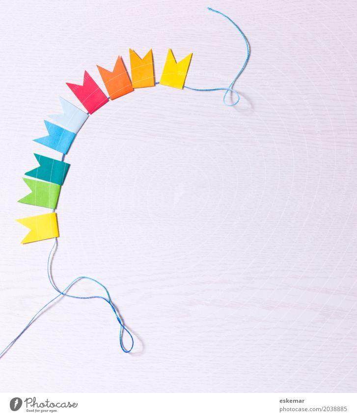 Girlande Dekoration & Verzierung Fahne Feste & Feiern Karneval Geburtstag Einladung Kind Papier Freundlichkeit Fröhlichkeit frisch oben schön blau mehrfarbig