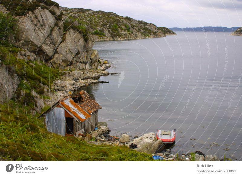 Norwegische Bucht Natur grün Wasser Einsamkeit Landschaft ruhig Umwelt Küste grau Felsen Luft Idylle trist Vergänglichkeit kaputt Vergangenheit