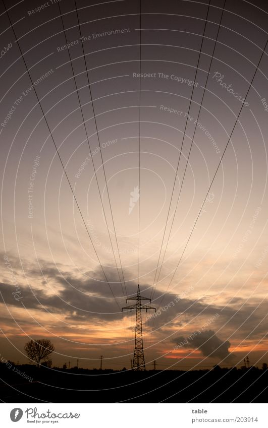 Stromlinien Himmel schwarz Wolken dunkel Landschaft Linie Umwelt Horizont Energiewirtschaft Netzwerk Zukunft Kabel stehen Klima Nachthimmel Dienstleistungsgewerbe